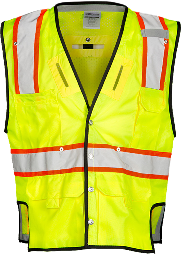 FrenchCreek's high visibility fall protection vest with D-ring openings