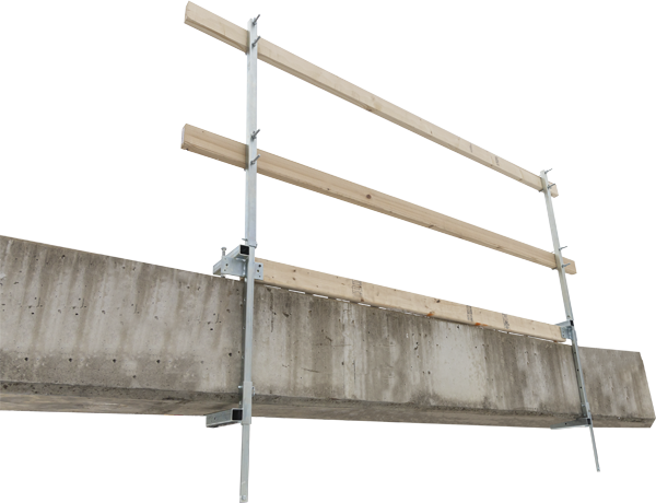 FrenchCreek's GR200 portable guardrail system on a concrete slab with 2X4's as railing