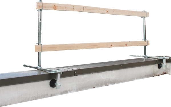 FrenchCreek's GR200 portable guardrail system in parapet setup with 2x4's as railing